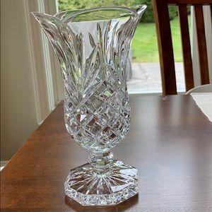 Vintage Lead Crystal Scalloped Rim Footed Vase EUC